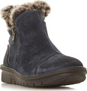 Navy ponti Faux Fur Lining Ankle Boots