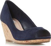 Navy Suede caydence High Wedge Heel Peep Toe Sandals