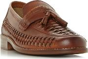 Tan broadhaven Woven Saddle Tassel Loafers