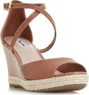 Tan Leather kestrel Mid Wedge Heel Espadrilles
