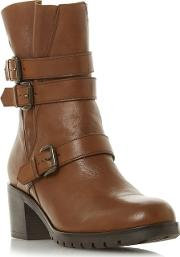 Tan Leather reuben Mid Block Heel Ankle Boots