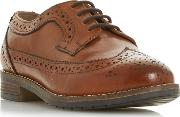 Tan Leather wf Felixe Block Heel Wide Fit Brogues Shoes