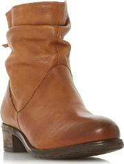 Tan Leather wf Pagerss Block Heel Wide Fit Ankle Boots