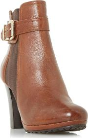 Tan orine Buckle Strap Heeled Ankle Boots