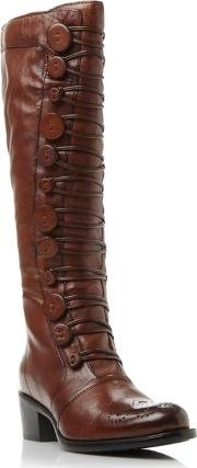 Tan pixie D Button Detail Leather Knee High Boots