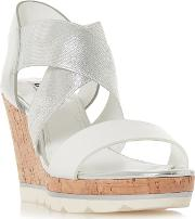 White kos High Wedge Heel Ankle Strap Sandals