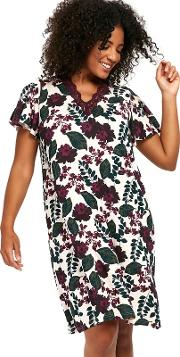 Berry Floral Short Nightdress