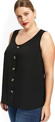 Black Button Up Camisole Top