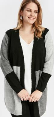 Black Colour Block Cardigan