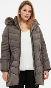 Grey Padded Faux Fur Coat