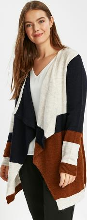 Multicoloured Colour Block Waterfall Cardigan