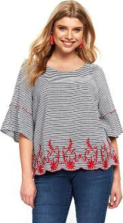 Navy Striped Embroidered Hem Top