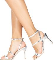 Silver delly High Heel Wide Fit Ankle Strap Sandals