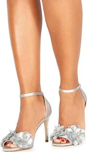 Silver lolo High Stiletto Heel Ankle Strap Sandals