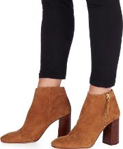 Tan Suede base High Block Heel Ankle Boots