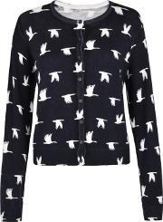 Navy Print aria Long Sleeve Cardigan