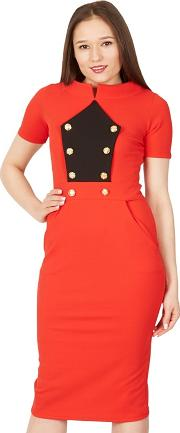 Red Military Bodycon Dress