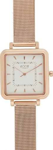 Ladies Gold Plated Square Mesh Strap Watch