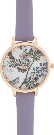 Ladies Lilac Butterfly Dial Watch