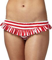 Red Striped Frilled Trim Bikini Bottoms