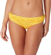 Yellow Ruffled Trim Bikini Bottoms