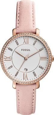 Ladies Rose Gold Leather Strap Watch