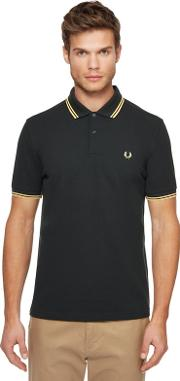 Dark Green Tipped Embroidered Logo Polo Shirt