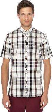 Dark Red Checked Button Down Collar Short Sleeve Shirt