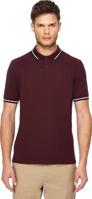Dark Red Tipped Embroidered Logo Polo Shirt
