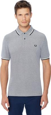 Grey Tipped Embroidered Logo Polo Shirt