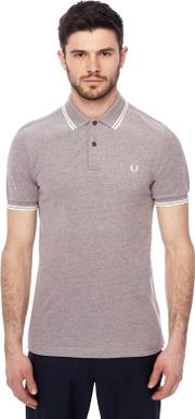 Maroon Tipped Embroidered Logo Polo Shirt