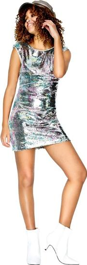 Aion Low Cut Back Dress In Metallic Sequin