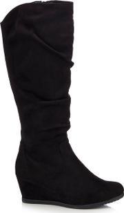 Black Suedette giselle Mid Wedge Wide Fit Knee High Boots