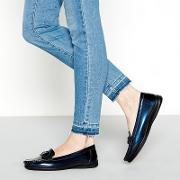 Navy Patent Buckle gone Wide Fit Loafers