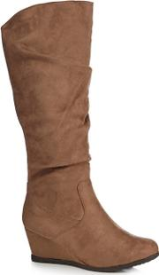 Taupe Suedette giselle Mid Wedge Wide Fit Knee High Boots