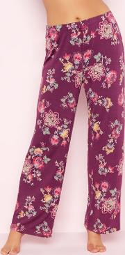 Dd Purple Floral Print oasis Pyjama Bottoms