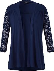 Navy Lace Sleeves Cardigan