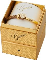 Guess Gold Plated Bracelet With A Brown Snake Print Leather And Gold Strap Ubs91310