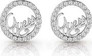 Guess Rhodium Plated authentic Swarovski Circle And Logo Stud Earrings