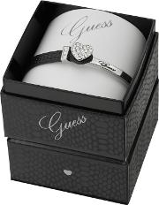 Guess Rhodium Plated Bracelet With A Black Leather And Rhodium Strap Ubs91307