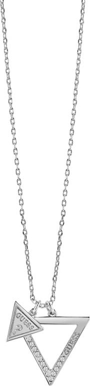 Guess Rhodium Plated Necklace Features An Open Triangle Pendant With A Smaller Guess Logo Triangle