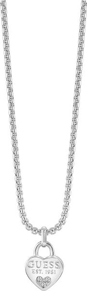 Guess Rhodium Plated Padlock Necklace Ubn82094