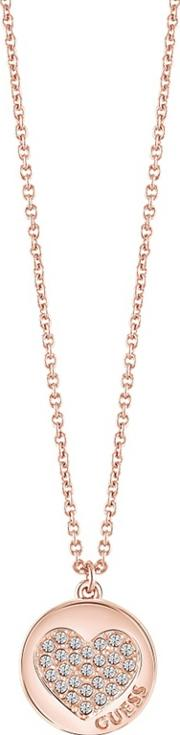 Guess Rose Gold Plated Heart Necklace Ubn82052