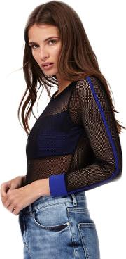 H By Henry Holland Black Long Sleeve Mesh Bodysuit