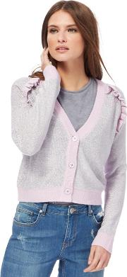 H By Henry Holland Metallic Frill Shoulder Cardigan