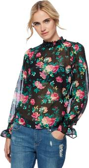 H By Henry Holland Multi Coloured Rose Print Sheer Frilled High Neck Blouse