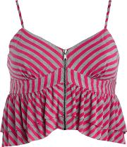 H By Henry Holland Pink And Grey Stripe Cropped Camisole