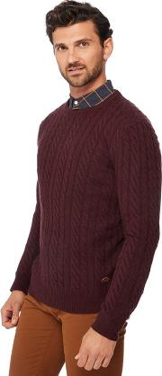 By Patrick Grant Big And Tall Dark Purple Cable Knit Wool Rich Jumper