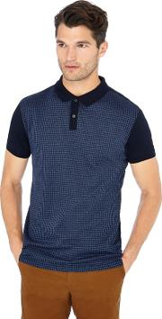 By Patrick Grant Big And Tall Navy Dogtooth Print Polo Shirt