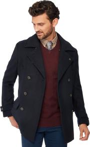 By Patrick Grant Big And Tall Navy Wool Rich Peacoat
